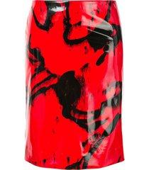 ck calvin klein printed vinyl-effect skirt - red