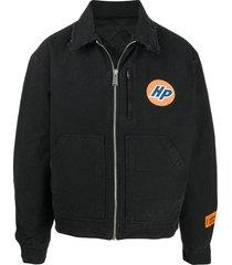 heron preston frayed quilted shirt jacket - black