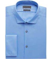calvin klein blue slim fit french cuff stretch dress shirt