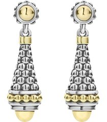 women's lagos signature caviar gold cap drop earrings