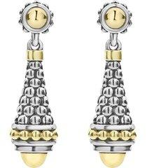 women's lagos signature caviar gold cap drop earrings