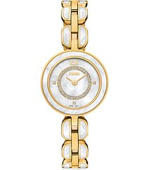 my way yellow goldtone stainless steel, diamond & mother-of-pearl bracelet watch