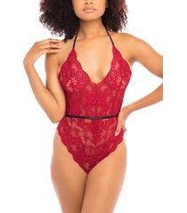 women's oh la la cheri willow lace thong teddy, size one size - red