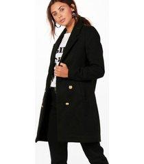 petite militaire duster jas met dubbele knopen, zwart