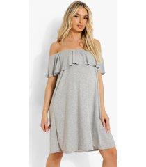 zwangerschap overlay swing jurk met uitgesneden hals, grey marl
