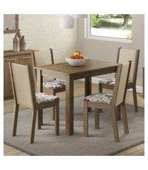 conjunto sala de jantar madesa cíntia mesa tampo de madeira com 4 cadeiras rustic/crema/bege marrom