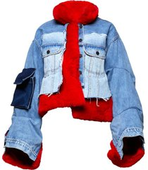 red faux fur and denim jacket