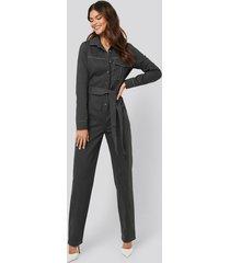 afj x na-kd contrast seam jumpsuit - grey