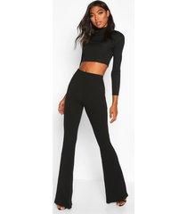 tall basic stretch skinny broek met wijd uitlopende pijpen, zwart