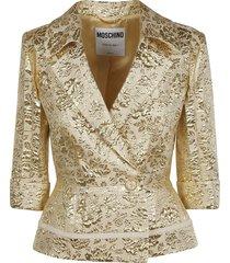 moschino single buttoned embossed blazer
