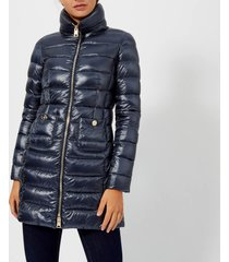 herno women's maria iconic long quilted fitted coat - cosmo - it 46/uk 14 - blue