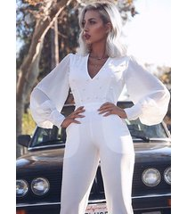 plunging pearl embellished lantern sleeve deep v neck flared jumpsuit pants top