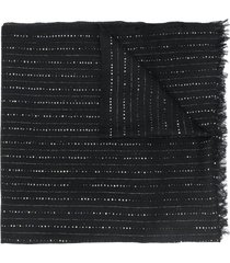 saint laurent sequin-embroidered scarf - black