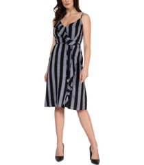 black tape striped ruffled faux-wrap dress