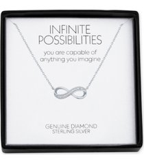 """diamond accent infinity 18"""" pendant necklace in sterling silver"""