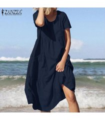 zanzea mujeres de algodón de manga corta cuello roung señoras sólidas vestidos de la playa del verano -azul marino