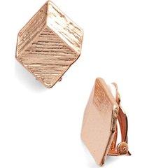 women's karine sultan brushed square clip-on earrings