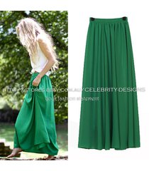 sk78kg celeb style flowy volume candy coloured chiffon pleated maxi long skirt