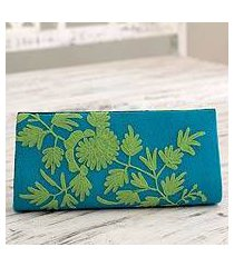 wool and leather accent clutch bag, 'aqua fantasy' (india)