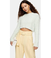 sage green fluffy cable crop knitted sweater - sage