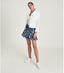 reiss flora - tassel printed mini skirt in blue, womens, size 14