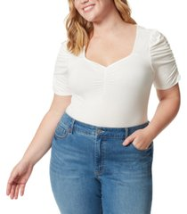 jessica simpson trendy plus size amelie ruched bodysuit