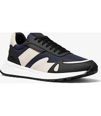 mk sneaker miles in tela e pelle - indaco scuro (blu) - michael kors