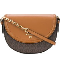 michael kors jet set half dome monogram light brown crossbody bag