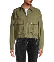the kooples women's full-zip jacket - khaki green - size 2 (m)