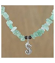 aventurine and garnet beaded pendant necklace, 'sauntering seahorse' (thailand)