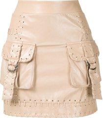andrea bogosian rubi leather mini skirt - neutrals