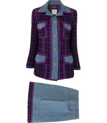 chanel pre-owned quilted denim skirt suit - purple