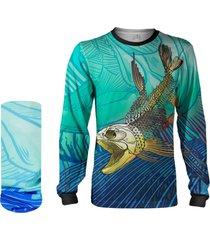 camisa máscara pesca quisty dourado do rio skull fishing proteção uv dryfit infantil/adulto - camiseta de pesca quisty