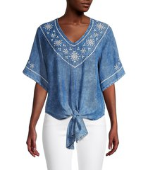 karen kane women's embroidered cotton tie-front top - navy - size m