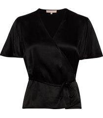 shania ss top blouses short-sleeved zwart soft rebels
