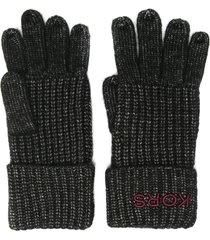 michael kors chunky knitted gloves - black