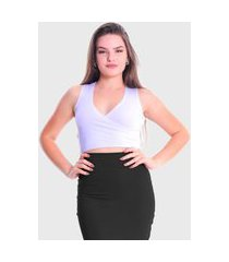 cropped transpassado regata plus size lynnce branco