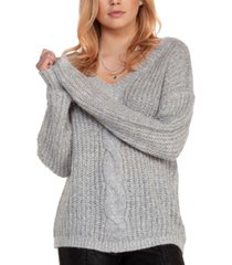 black tape v-neck cable-knit sweater