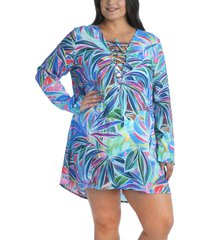 la blanca long sleeve tunic cover-up, size 1x in multi at nordstrom