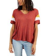 hippie rose juniors' colorblocked-sleeve top