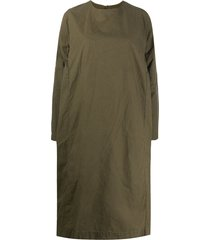 casey casey oversized long-sleeved cotton dress - green