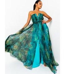 akira babes of paradise pleated mesh maxi dress