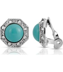 2028 gold tone turquoise color crystal round button clip earring