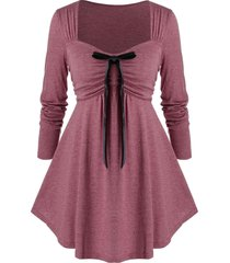 plus size bowknot ruched empire waist t shirt