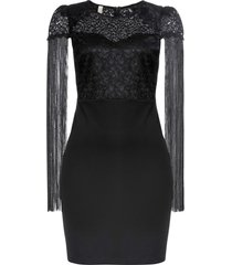 abito di jersey elegante con frange (nero) - bodyflirt boutique