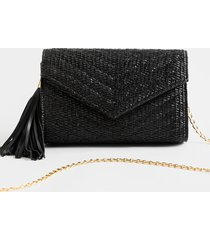 women's aj quilted envelope chain clutch in black by francesca's - size: one size