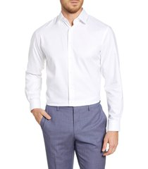 men's big & tall nordstrom traditional fit non-iron solid stretch dress shirt, size 16.5 - 36/37 - white