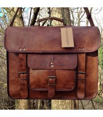 men's genuine leather cowhide school satchel shoulder messenger bags new