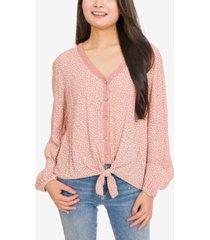 hippie rose juniors' printed lace-trimmed tie-hem blouse