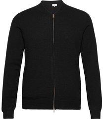 man bomber jacket gebreide trui cardigan zwart davida cashmere